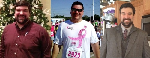Left: December, 2011.  Middle: June 2012, immediately after first 5K. Right: January 2013.