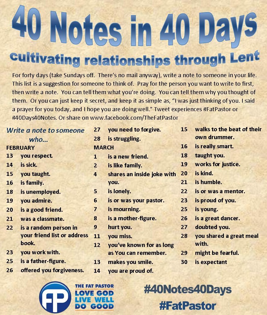 40 Days Of Hookup Love Notes