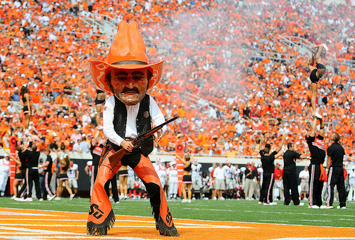 The OK State Cowboy has a high creepiness factor with the regular body and the plastic head, but it's that piece he's carrying that puts him into the Final Four.